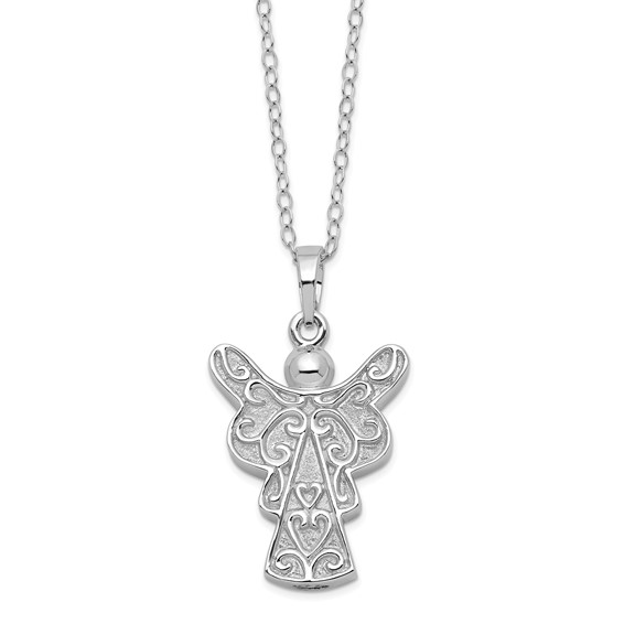 Sterling Silver Scrollwork Angel Ashes Necklace