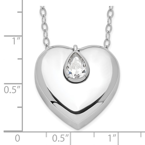 Sterling Silver Heart with CZ Teardrop Ashes Necklace - Free Shipping