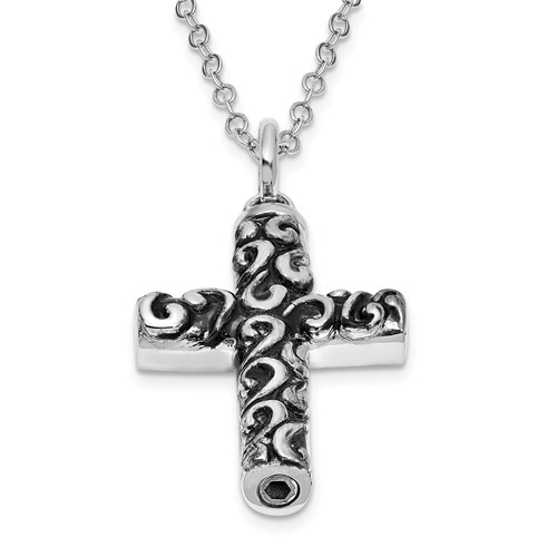 Sterling Silver Necklace for Ashes with Antiqued Cross Ashes Pendant