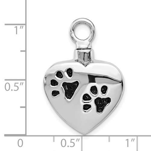 Paw Print Heart Shaped Urn Pendant for Ashes - Sterling Silver - Free Shipping