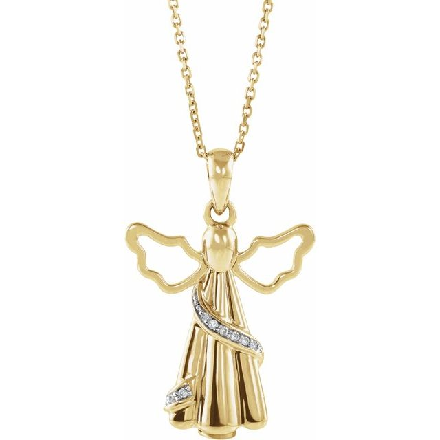 Angel Ashes Necklace in 10K Yellow Gold with .03 CTW Diamonds