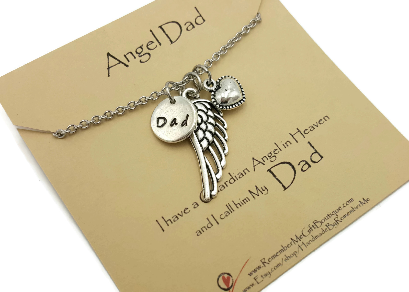 Angel Dad Memorial Necklace - Hand Stamped Memorial Jewelry
