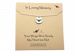 Sterling Silver In Loving Memory Angel Wing Necklace - Free Shipping
