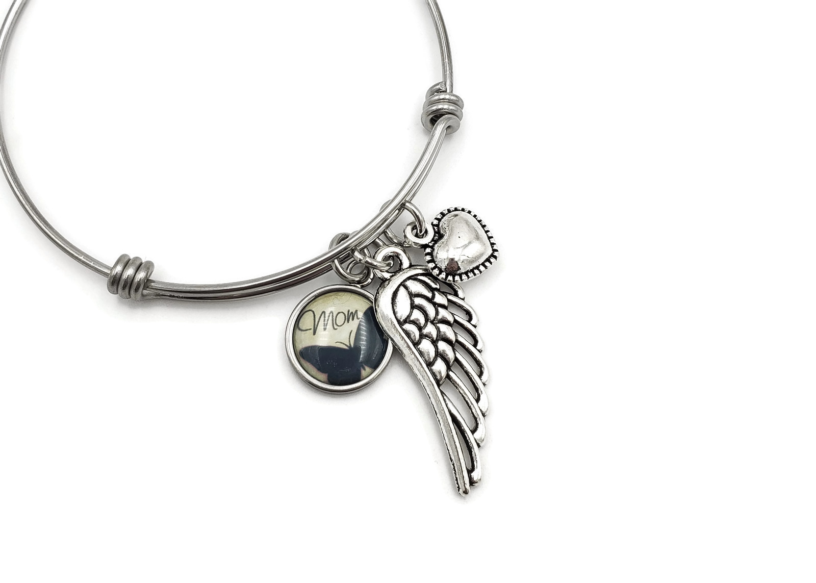 Angel Mom Remembrance Bracelet - Loss of Mother Memorial Jewelry - Free Shipping