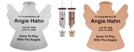 Angel Wind Chimes,  Personalized Memorial Wind Chimes - Remember Me