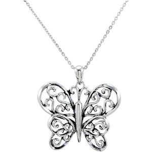 The Butterfly Principle Necklace in Sterling Silver with Message
