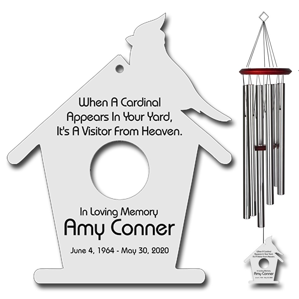Cardinal Wind Chimes - When A Cardinal Appears Silver