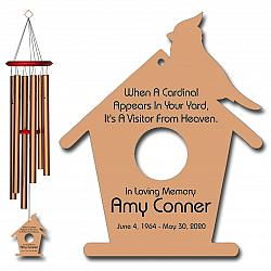 Cardinal Personalized Memorial Wind Chimes - Cardinal Wind Chime - Bronze