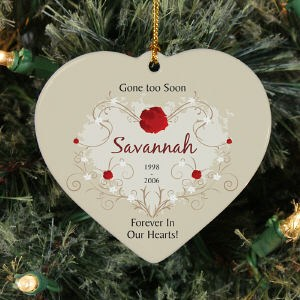Personalized Ceramic Heart Memorial Ornament - Memorial Christmas Ornament