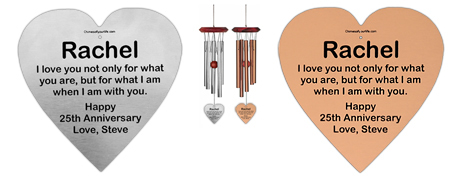 Personalized Heart Memorial Wind Chime - Remember Me Gifts