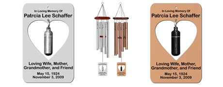 Urn Wind Chime Heart Shaped - Personalized Memorial Wind Chimes