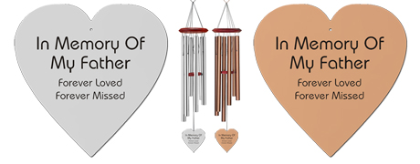 Loss of Father Memorial Wind Chimes - Heart Shaped