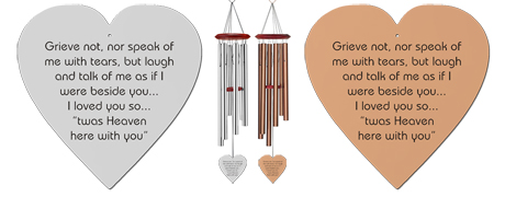 Grieve Not Heart-Shaped Memorial Wind Chimes - Remembrance Wind Chimes