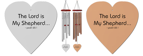 Psalm 231 - Heart Personalized Memorial Wind Chimes