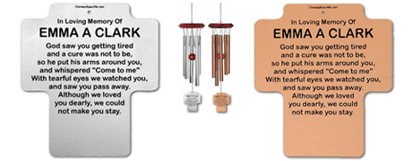 Personalized Memorial Wind Chimes Cross Shaped - Remember Me Wind Chimes
