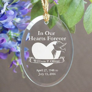 In Our Hearts Forever Personalized Glass Memorial Christmas Ornament