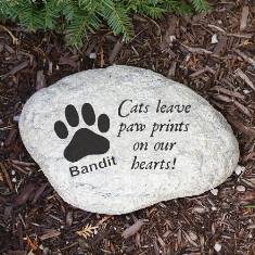 Paw Prints On Our Heart Cat Memorial Garden Stone