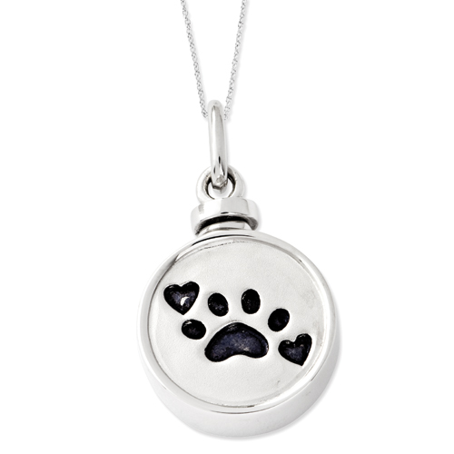 Sterling Silver Enameled Paw Print Ash Holder 18in Necklace