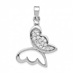 Butterfly CZ Urn Pendant for Ashes in Sterling Silver