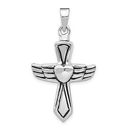 Antiqued Cross Urn Pendant for Ashes- Sterling Silver