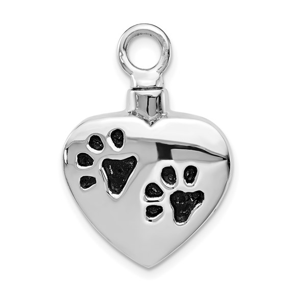 Paw Print Heart Shaped Urn Pendant for Ashes - Sterling Silver