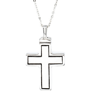 Cross Cremation Ash Holder Urn Pendant & Chain in Sterling Silver - Free Shipping