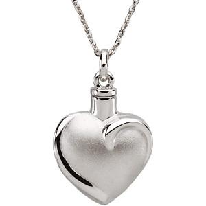 Fancy Heart Cremation Ash Holder Pendant & Chain