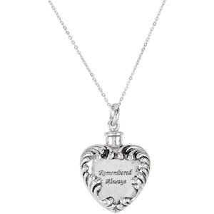 Remembered Always Cremation Ash Holder Necklace - Free Shipping