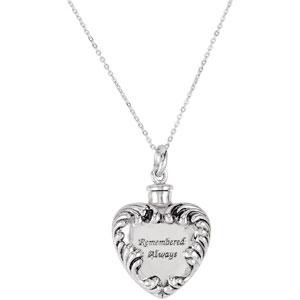 Remembered Always Cremation Ash Holder Necklace