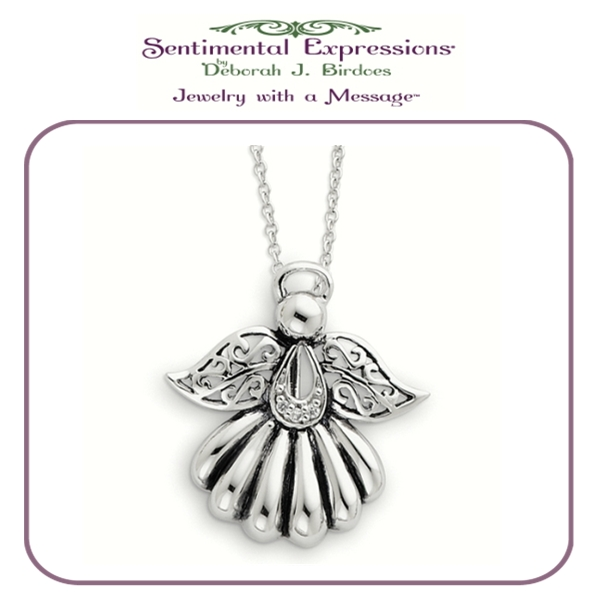 Sterling Silver Antiqued Angel of Remembrance 18in Necklace - Memorial Necklace