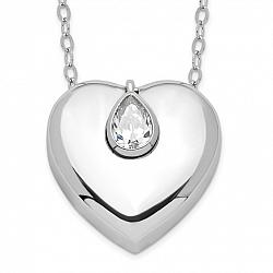 Sterling Silver Heart with CZ Teardrop Ashes Necklace