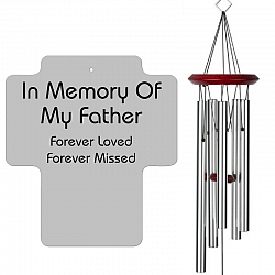 Father Memorial Wind Chimes - Cross Shaped Silver