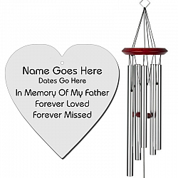 Father Memorial Wind Chimes - Heart Shaped Silver