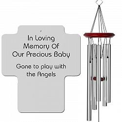 Cross Memorial Wind Chimes - Infant Loss or Miscarriage Silver - Urn Available