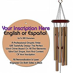 Personalized Memorial Wind Chimes - Circle Bronze