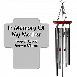 Mother Memorial Wind Chime - Cross Silver