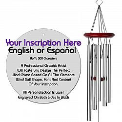 Personalized Memorial Wind Chimes - Circle Silver