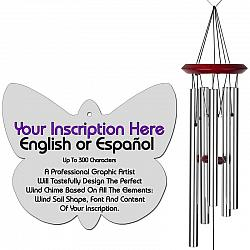 Personalized Memorial Wind Chimes - Butterfly Silver
