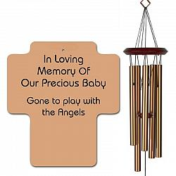 Cross Memorial Wind Chimes - Infant Loss or Miscarriage Bronze - Urn Available