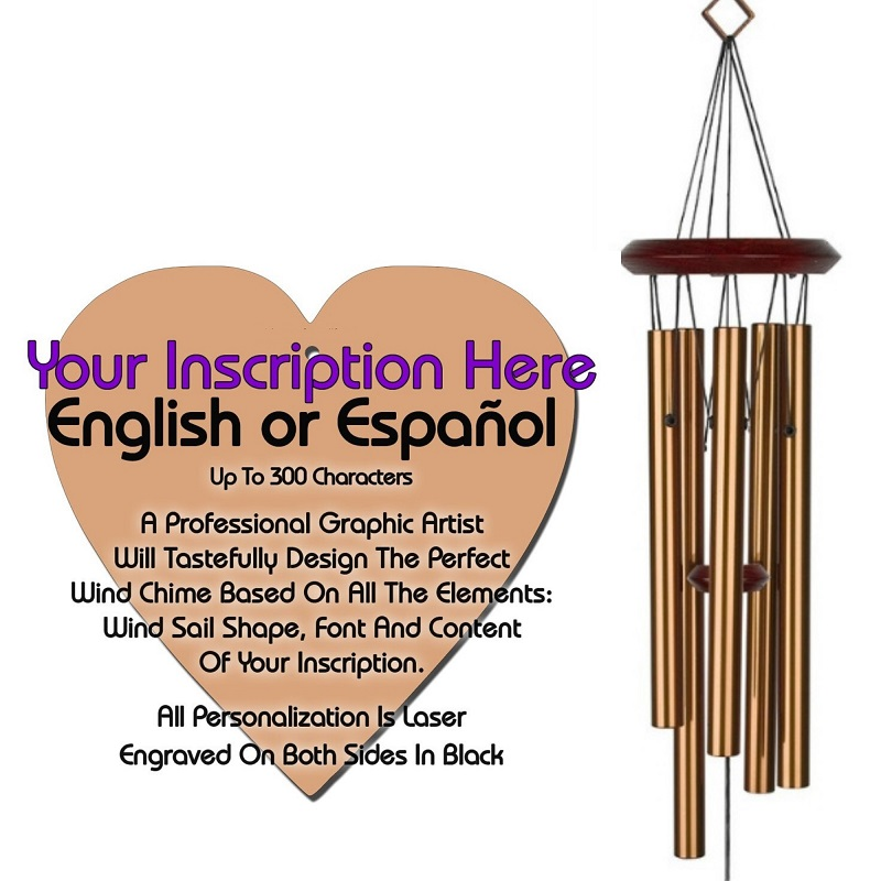 Personalized Memorial Wind Chimes - Heart Bronze