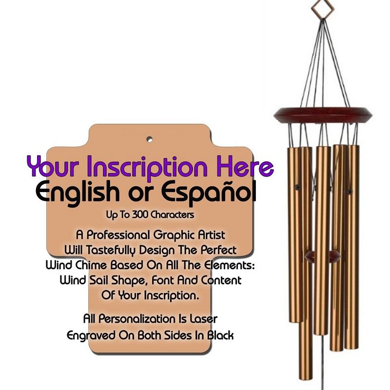 Personalized Memorial Wind Chimes - Cross Bronze