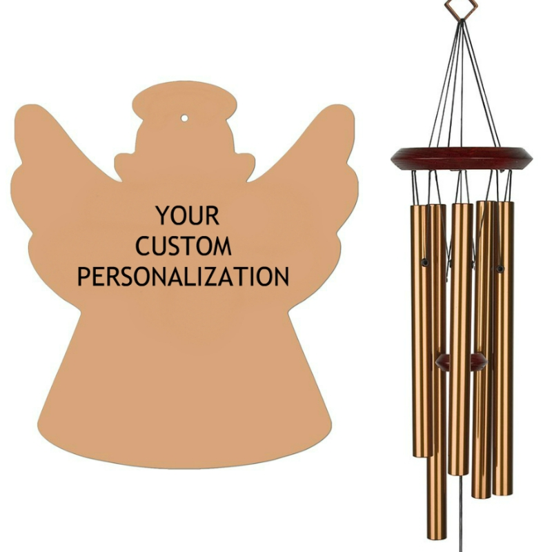 Angel Wind Chimes Bronze- Personalized Memorial Wind Chime Your Words - Urn Available - Free Shipping