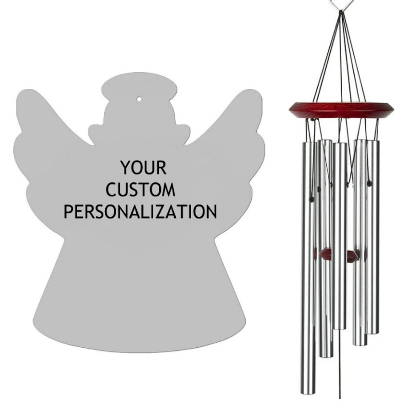 Angel Wind Chimes Silver - Personalized Memorial Wind Chime Your Words - Urn Available - Free Shipping