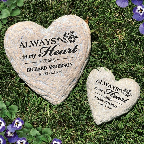 Engraved In Loving Memory Heart Personalized Memorial Garden Stone