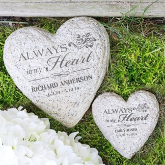 Engraved In Loving Memory Heart Memorial Garden Stone