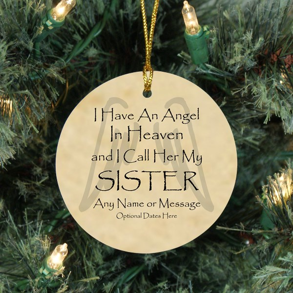 Angel Sister Personalized Christmas Memorial Ornament