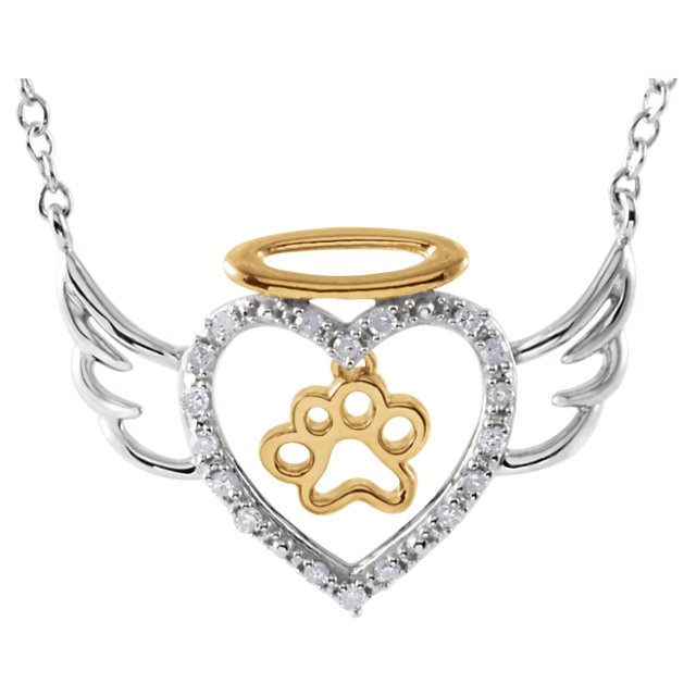 "Diamond Angel Heart Paw 18"" Necklace - Pet Memorial Jewelry"