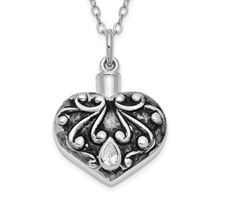 Sterling Silver Antiqued Heart Remembrance Ash Holder Necklace - Free Shipping