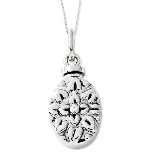 Sterling Silver CZ Antiqued Flower Ash Holder 18in Necklace