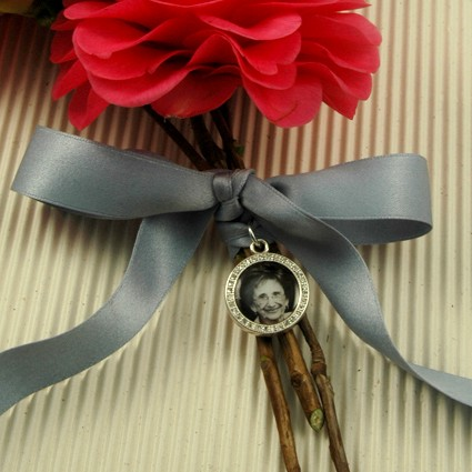 """Something Blue"" bridal bouquet wrap photo charm"